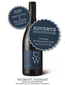 Advents-Degustation Weingut Diederik Raclette und Walliser Trockenfleisch